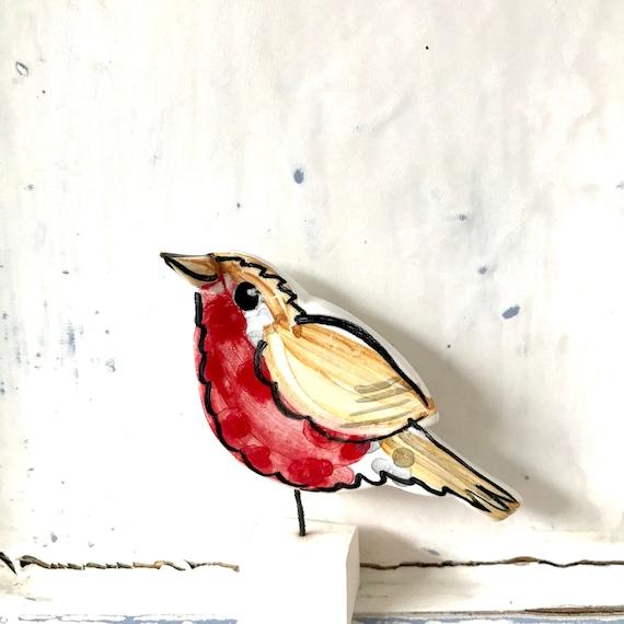 Robin pottery ornament / bird ceramic gift