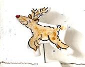 Reindeer pottery ornament / christmas ceramic gift