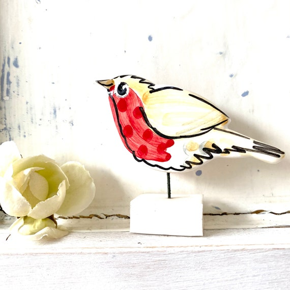 Robin pottery ornament / bird ceramic gift