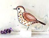 Song thrush pottery ornament