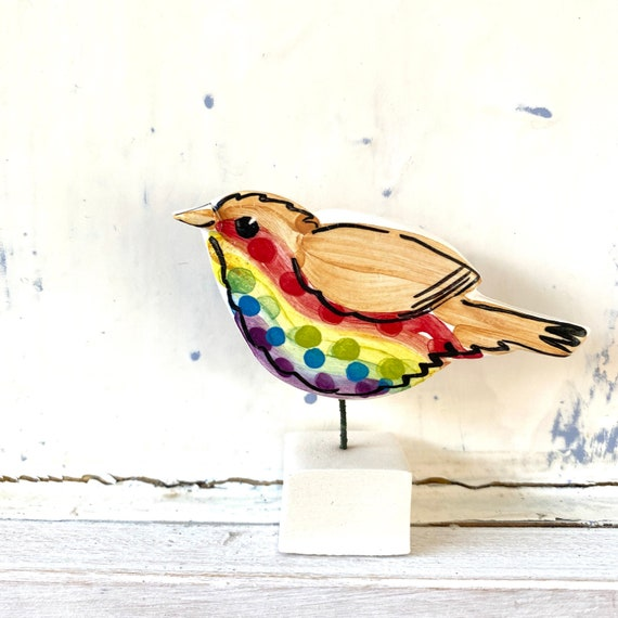 Rainbow Robin pottery ornament / ceramic gift