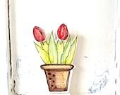 Red tulip flowerpot ornament