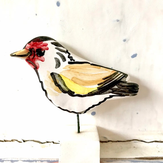 Goldfinch pottery ornament / bird home gift