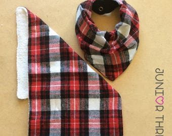 Red Tartan Bandana Bib and Burp Cloth set