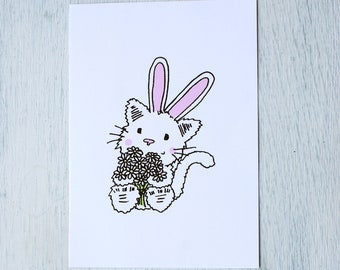 Card-cat with rabbit ears and bouquet
