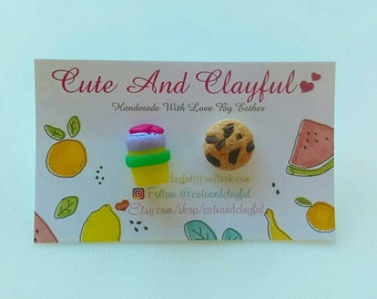 Cute Yellow Keep Cup/ Purple Lid And Choc Chip Cookie Polymer Stud Earrings