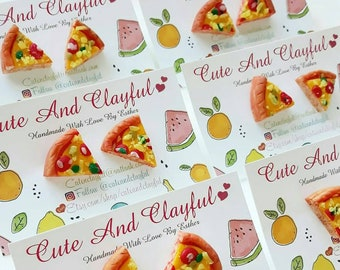 Cute Pizza Slices Polymer Stud Earrings