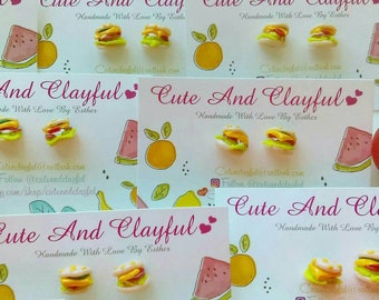 Cute Mini Burger 'With The Lot!' Polymer Stud Earrings