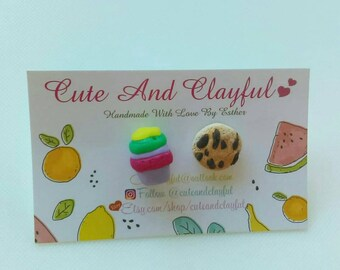 Cute Purple Keep Cup/Green Lid And Choc Chip Cookie Polymer Stud Earrings.