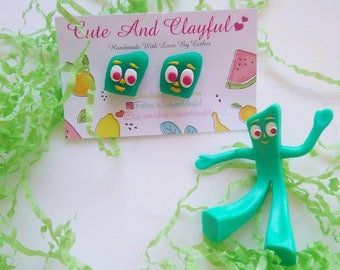Cute Green Gumby Retro Polymer Stud Earrings