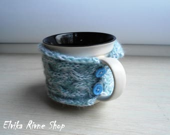 Mother's day gift Easter gift Blue mug Wool sleeve mug Knitted white coffee cup cosy Cosy sleeve cup Wool white sweater Wool fashion mug