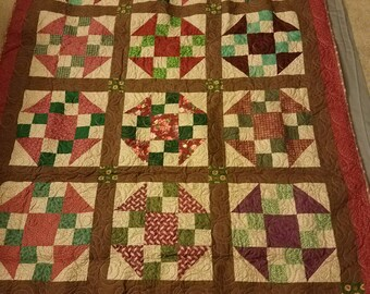 """Scrappy Lap Sized Quilt (62"""" x 49""""); Brown, Maroon and Green Quilt; Housewarming Gift; Christmas Gift; Housewarming Gift; Quilt"""