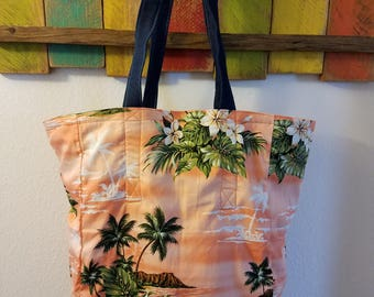Sunset Themed Reversible Tote/ Grocery Bag; Sunset Themed Everyday Tote/Bag; Sunset Washable blue Jean Tote; Beach Themed; Orange