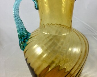 Victorian glass bronze and blue jug