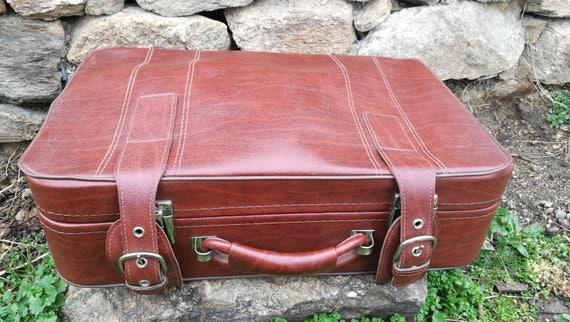 Antique large suitcase faux leather / Old large le