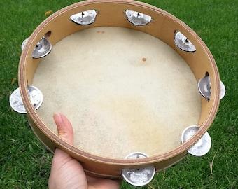 Vintage tambourine /Historic Old Time Music /Authentic vintage TAMBOURINE /Old tambourine /Natural Skin TAMBOURINE / Musical toy / Hand Drum