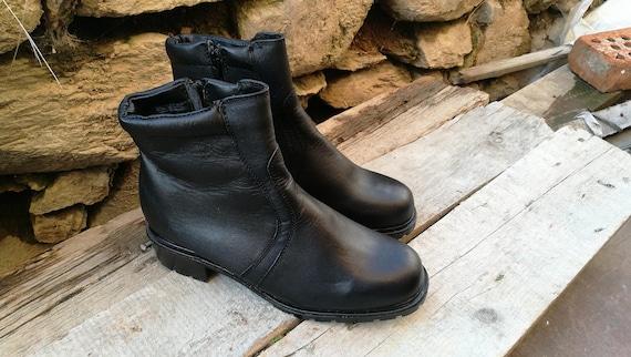 Leder Lederstiefel Schuhe Schwarz Winterstiefel Damen Womens Mode Schwarze Stiefel Militär xCtshQrd