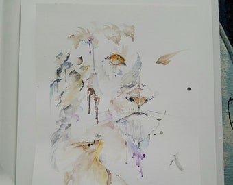 Crying Lion watercolor original.  8x10 one of a kind, no prints. Unframed.