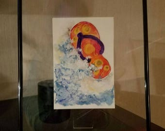 Original watercolor painting.  This is from the Tiny Bubbles collection at a mere 4x6 in size.  Comes with floating frame and wall-ready.