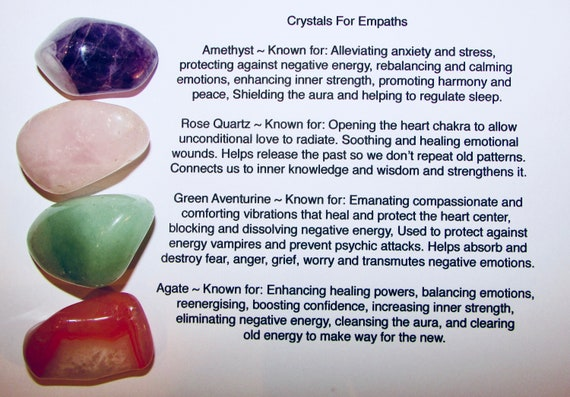 4 x Healing Crystals For Empaths Amethyst, Pink Rose Quartz, Green  Aventurine, Agate Tumblestones Stones Healing Energy Protection