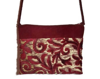 Velvet handbag, red velvet handbag, damask handbag, shoulder bag, gold bottom handbag, drawstring shoulder strap, damask velvet.
