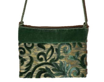 Velvet handbag, green velvet handbag, damask handbag, shoulder bag, gold bottom handbag, drawstring strap, damask velvet.