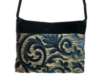 Velvet handbag, Blue velvet handbag, damask handbag, shoulder bag, gold bottom handbag, drawstring strap, damask velvet.