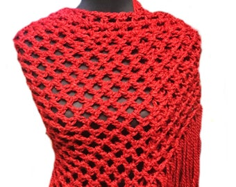 Red Shawl with fringe