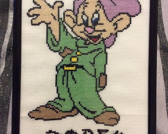 Handmade Dopey Cross Stitch in Frame