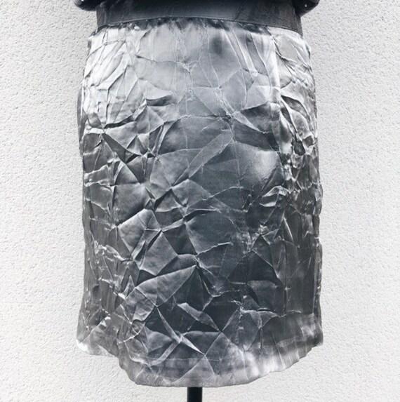 Vintage Jean Dessès creased silver skirt