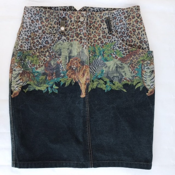 1980s Kenzo Jeans jungle print denim skirt