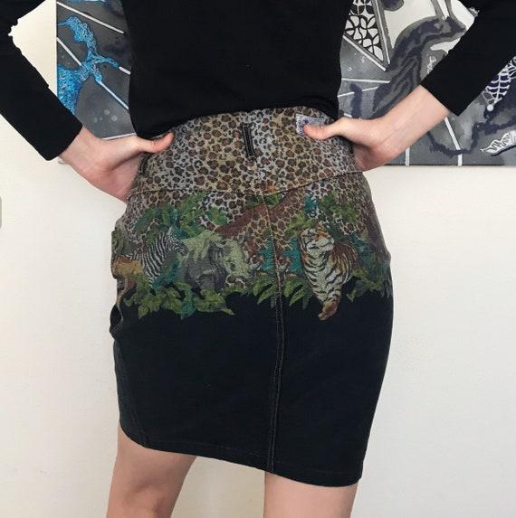 1980s Kenzo Jeans jungle print denim skirt