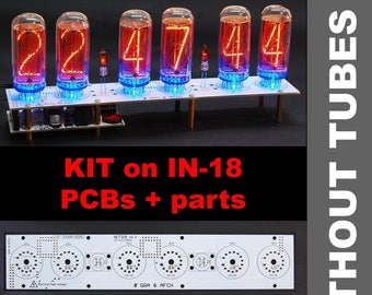Nixie Tubes Clock IN-18 PCB Assembled For 4, 6, 8 Tubes, DIY, Arduino