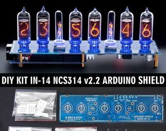 DIY KIT for IN-14 Arduino Shield NCS314 Nixie Tubes Clock [with options] for Boyfriend, Husband, Vintage, Glowing Clock, Gift, Steampunk