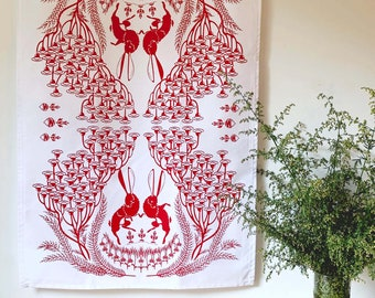 Tea Towel - In the Warren Rabbit Organic Kitchen Towel