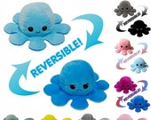 Reversible Octopus Plush Double Sided Moody Happy Flip Toy Soft Squid Stuffed Doll Toys UK Free Deliver