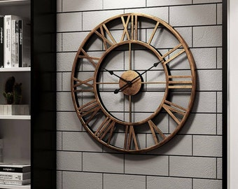 Large Skeleton Wall Clock, Metal Roman Big Numerals Giant Open Round Face UK