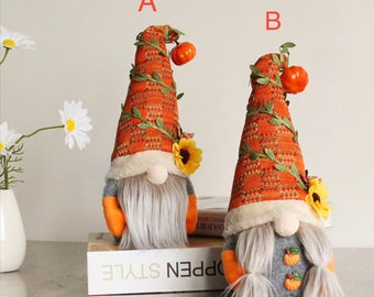 Fall Gnome, Autumn Home Decoration, Autumn gnomes, Pumpkin Sunflower Faceless Doll Dwarf Ornaments Window Decorations Harvest Festival Elf