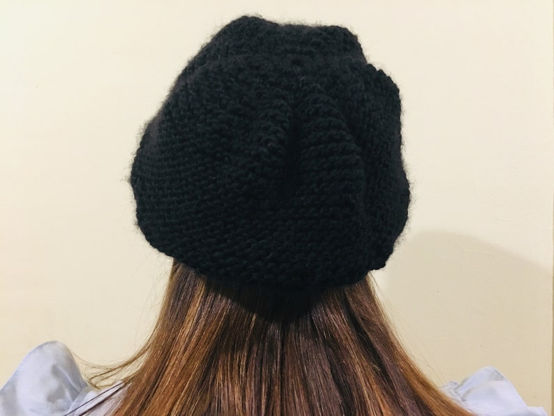 Black french Touch hand knitted wool beret