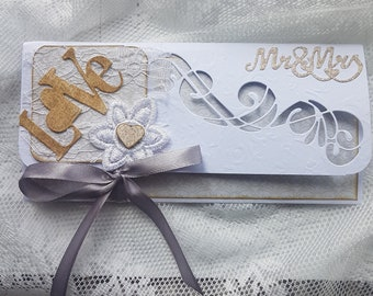 Shades of beige, flower and lace white wedding gift envelope