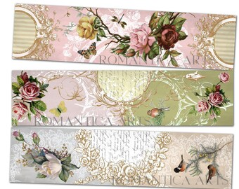 Printable Bookmarkers Strips Shabby Chic Roses Birds Vintage Victorian Tag Instant Download Labels Tags Scrapbook Paper Collage Sheet