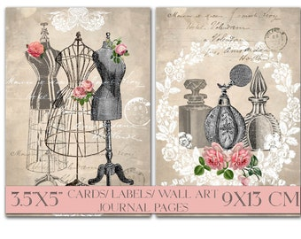 Printable Instant Wall Art 9x13cm Victorian Ephemera Card Sepia Digital Download Vintage Scrapbook Paper Collage Sheet Decoupage Image