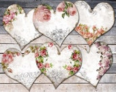 Editable Heart Tag, Shabby Roses Card, Vintage Roses Tag, Shabby Heart Download, Printable Vintage Hearts, Digital Paper For Decoupage
