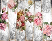 Shabby Roses Strips For Crafting, Digital Bookmark For Scrapbooking, Floral Collage Sheet, Bookmark Printable Vintage, Roses Decoupage Paper