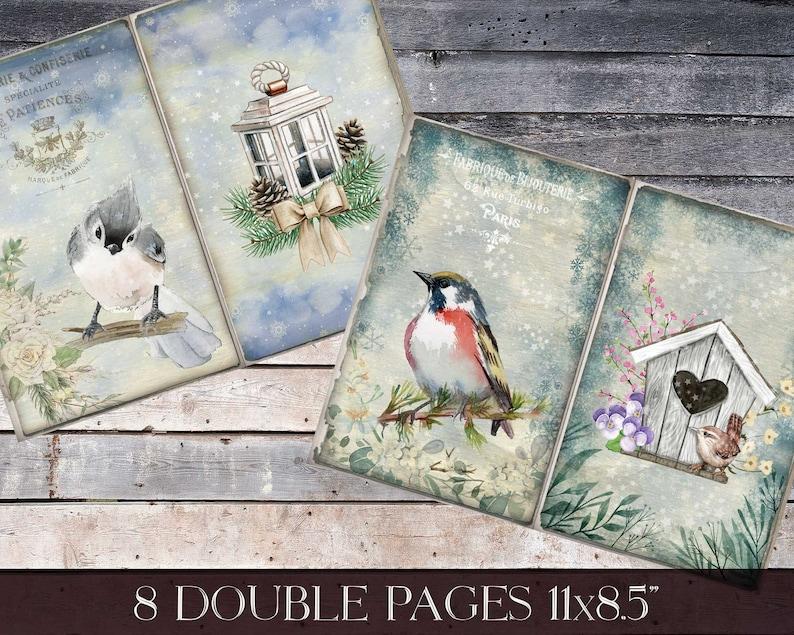 Printable Bird Journal Birds In Winter Junk Journal Kit Watercolor Bird Paper For Journal French Ephemera Digital Bird And Snow Paper