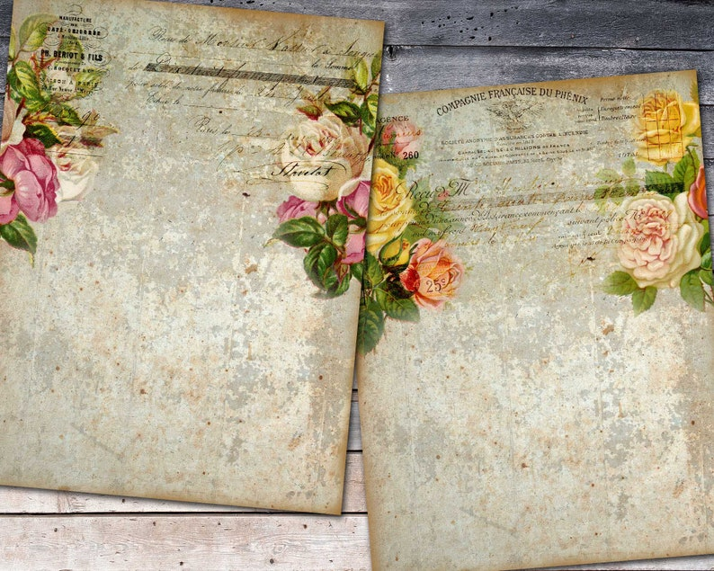 French Ephemera Paper Digital Printable Botanical Paper Shabby Rose Paper For Journal Flower Collage Sheet Floral Pages For Scrapbooking