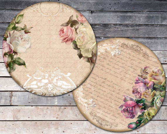 shabby chic easter decor on sale.htm editable shabby roses images for coasters vintage round roses etsy  images for coasters vintage round roses