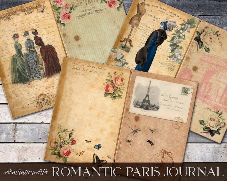 Shabby French Ephemera Romantic Paris Junk Journal Printable Paris Vintage Ephemera Digital Paris Journal Kit Romantic Journal Papers