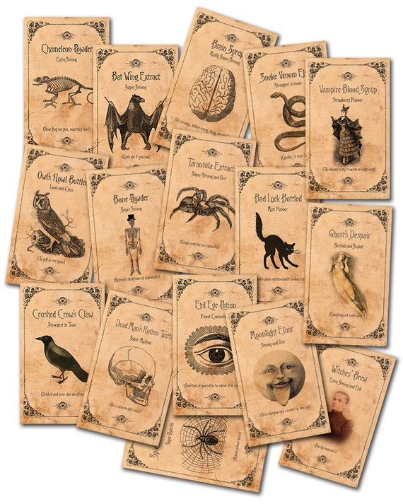 image regarding Free Printable Vintage Apothecary Labels known as Bottle Labels Halloween, Spooky Halloween Apothecary Labels Traditional, Electronic Potion Bottles Victorian, Printable Creepy Pets Jar Labels