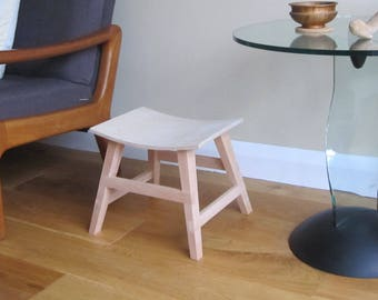Japanese style curved stool in birch ply and solid beech